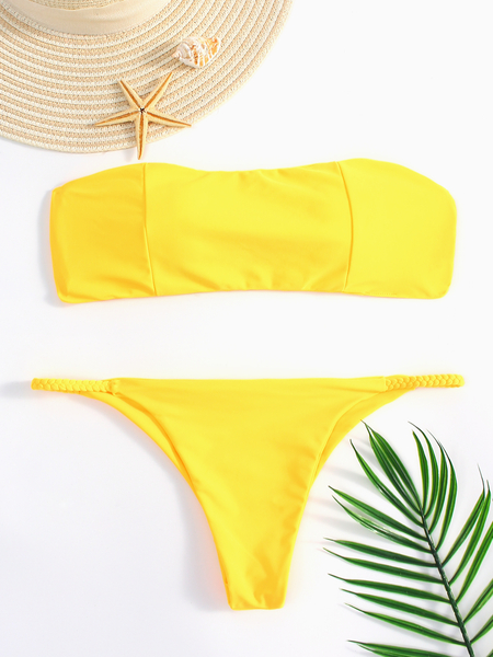 Yoins Yellow Braid Design Bandeau Bikini
