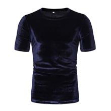 Einfarbiges Samt T-Shirt mit kurzen Ärmeln