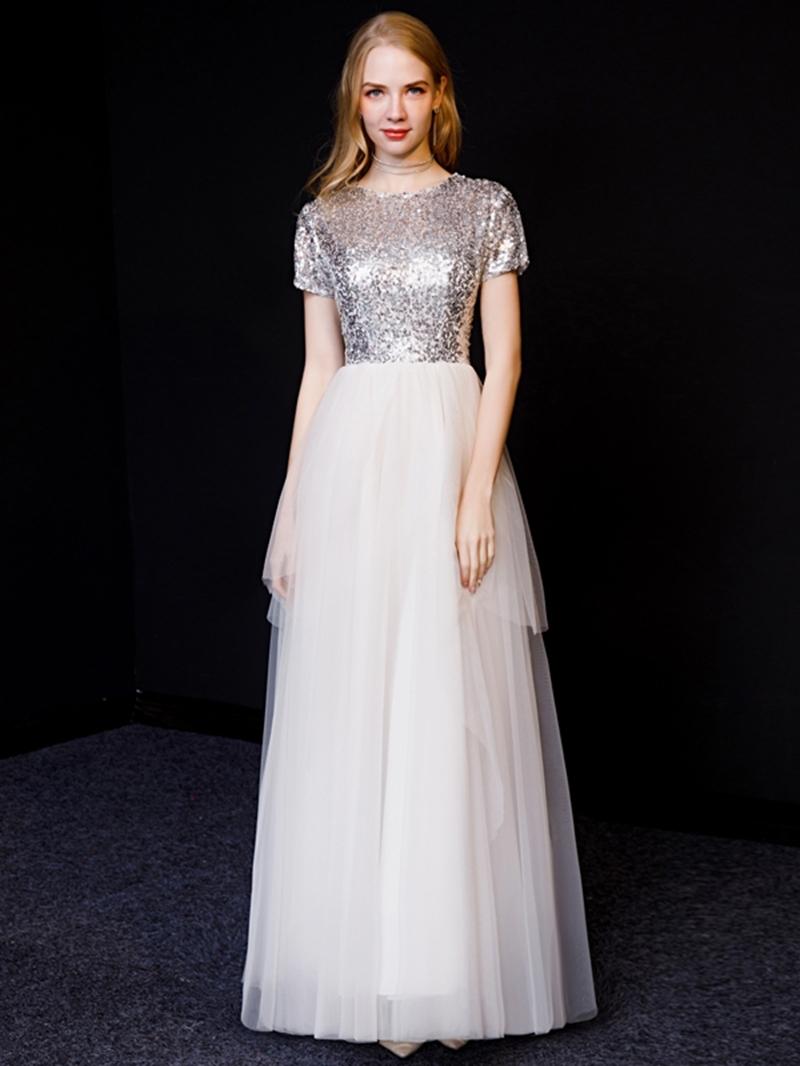 Ericdress A-Line Short Sleeves Long Evening Dress