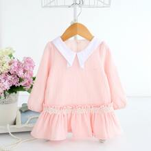 Toddler Girls Contrast Lace Button Back Smock Dress
