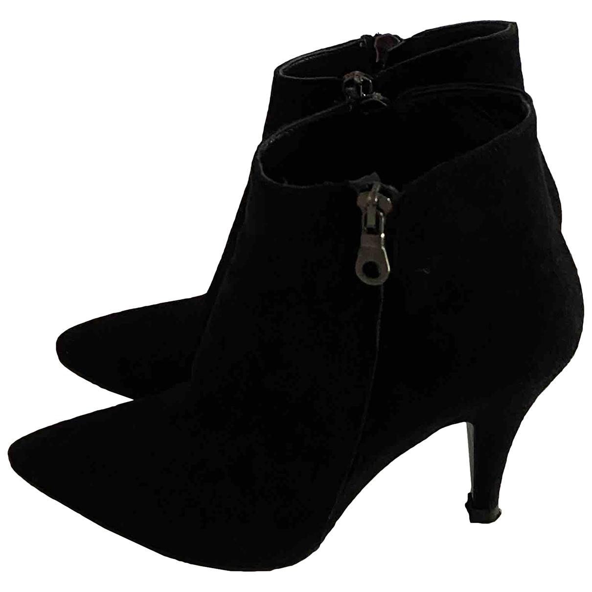 - Boots   pour femme en suede - noir