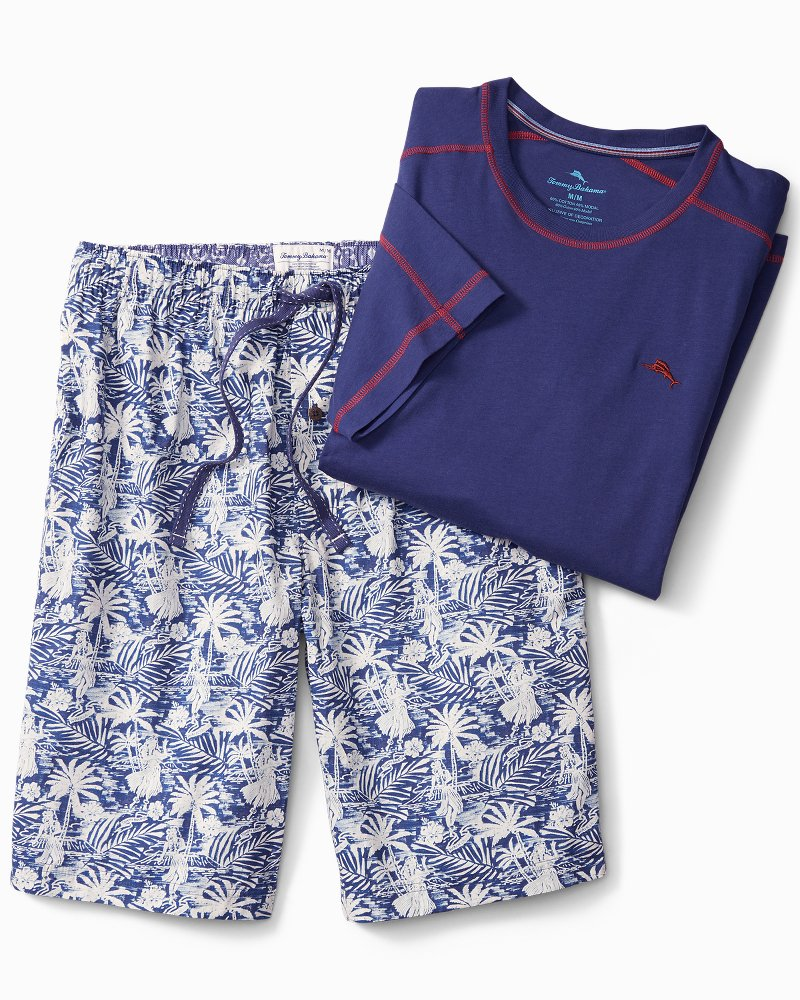 Big & Tall Waikiki Woven Lounge Shorts Set