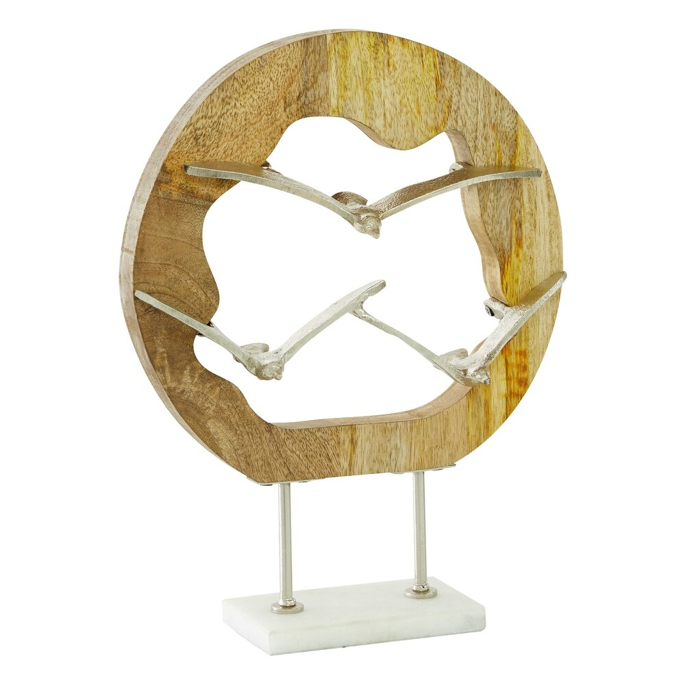 Natural Wood and Silver Metal Bird Sculpture Table Decor, 10