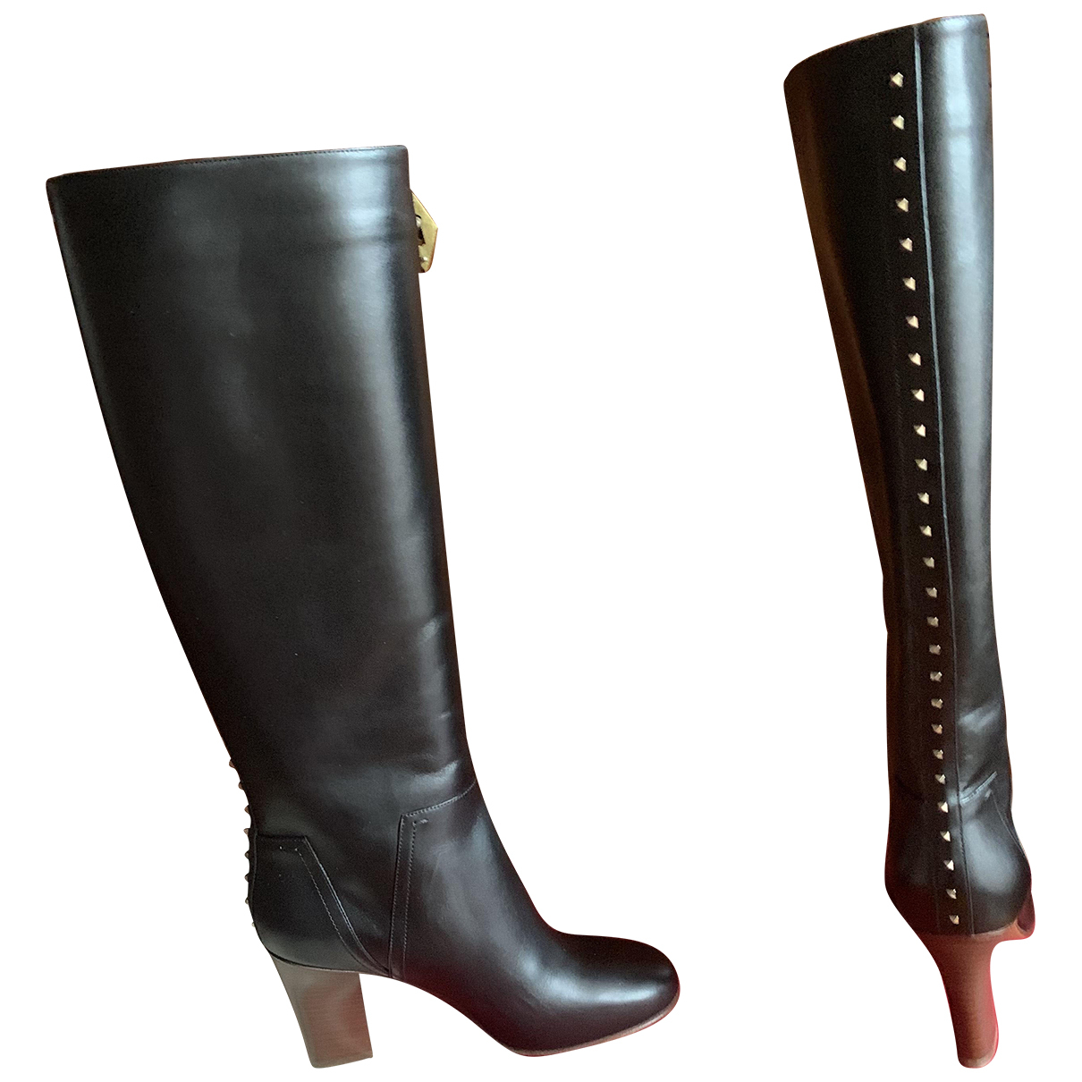 Valentino Garavani \N Black Leather Boots for Women 38 IT