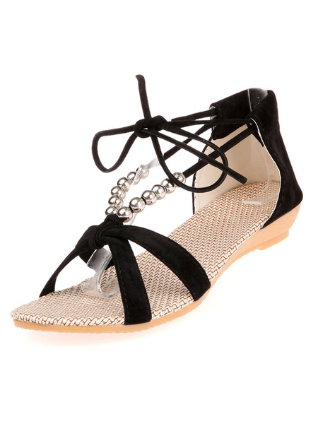 Milanoo Black Sandal Shoes Open Toe Beaded Lace Up Sandals Women Flat Sandals