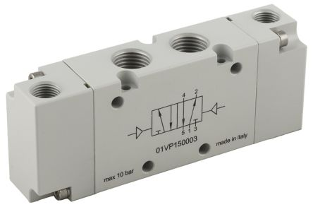 RS PRO 5/2 Monostable Pneumatic Control Valve Pneumatic G 1/8
