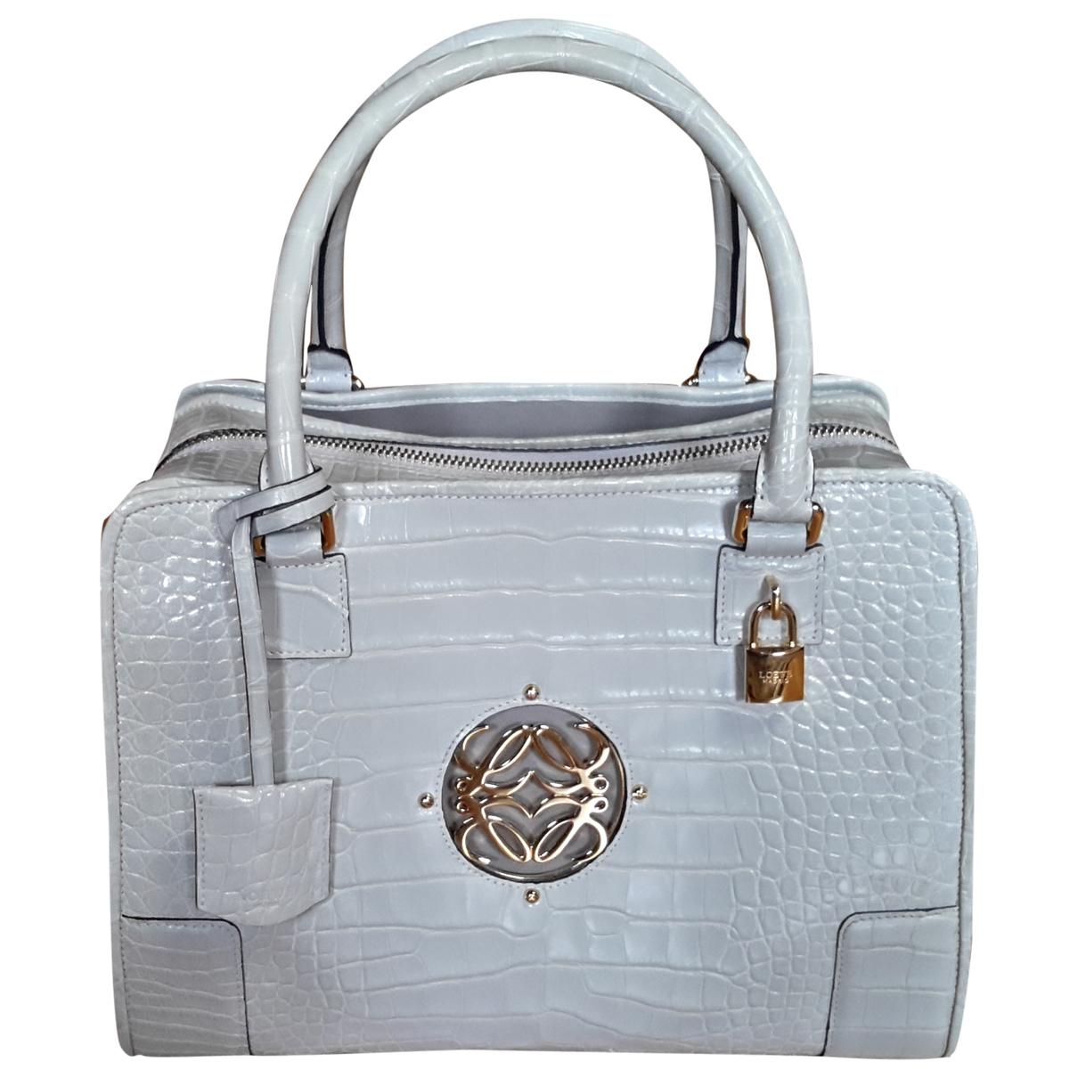 Loewe Amazona Handtasche in  Grau Exotenleder