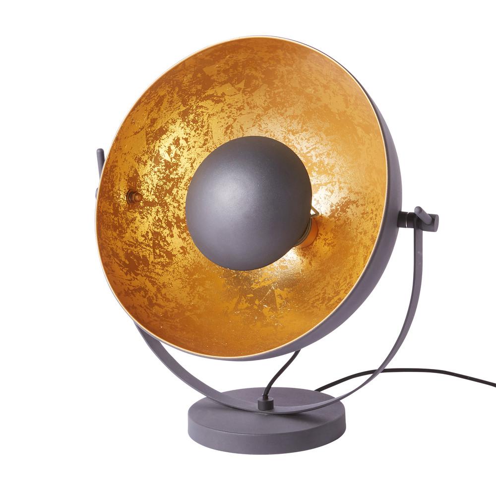 Lampe aus Metall, schwarz und goldfarben