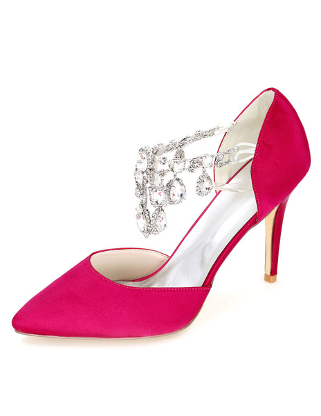 Milanoo Beautiful Satin Jeweled Pointed Toe Pumps For Bride