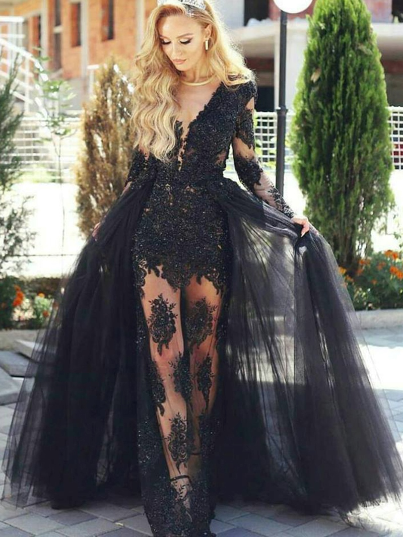 Ericdress Sheath Appliques Long Sleeves Evening Dress With Train
