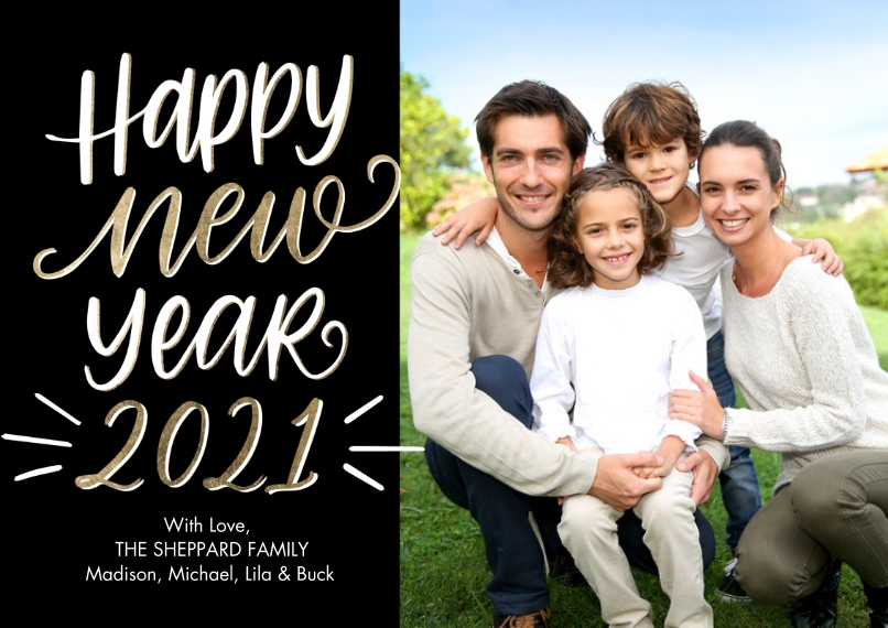 New Years Photo Cards 5x7 Cards, Premium Cardstock 120lb with Rounded Corners, Card & Stationery -2021 Happy New Year by Tumbalina