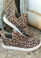Leopard Tie Slip On Flat Sneakers