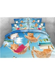 Likable Kittens Lying in Hammock Print 4-Piece 3D Bedding Sets/Duvet Covers