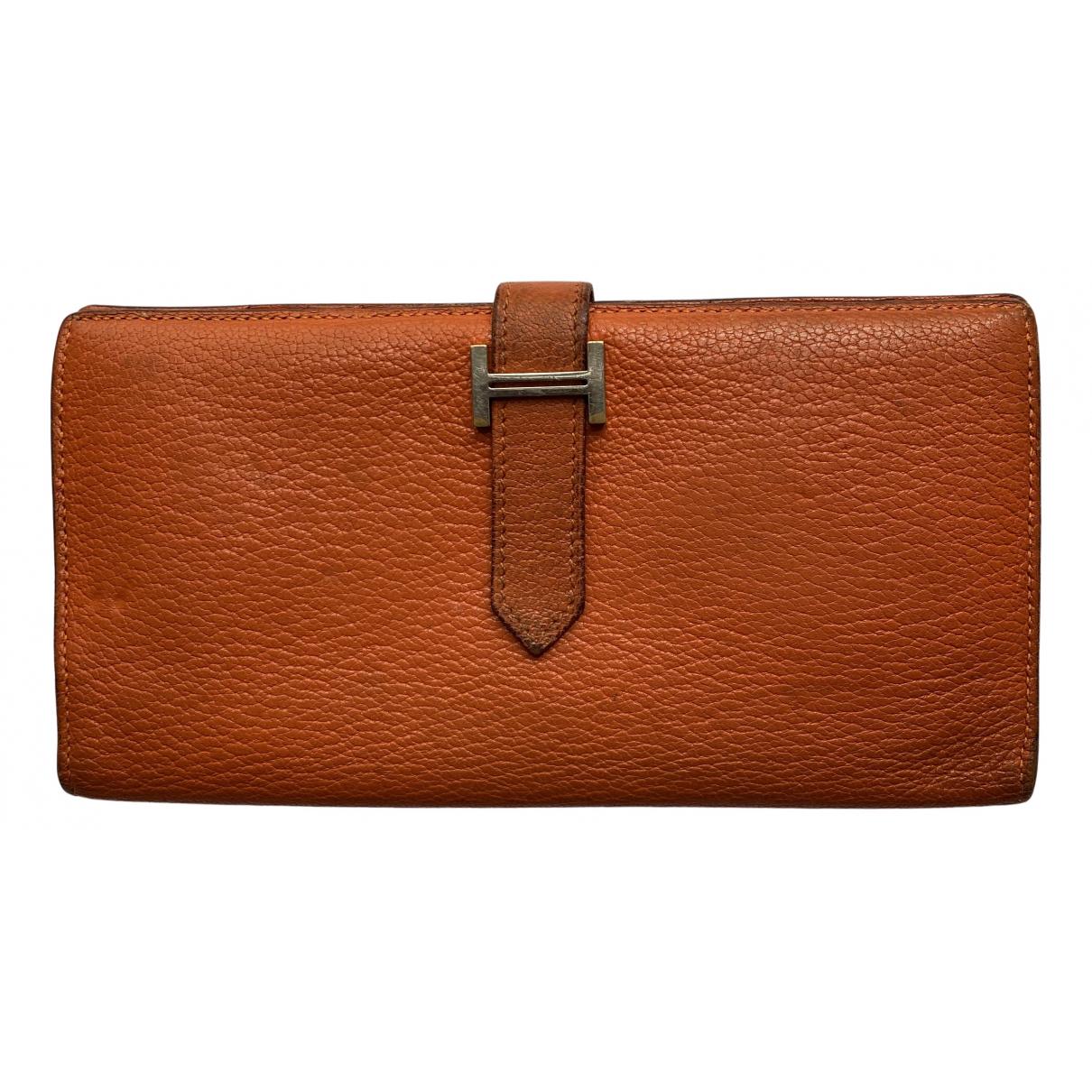 Hermes - Petite maroquinerie Bearn pour femme en cuir - orange