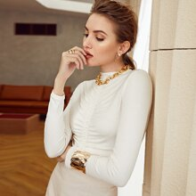 Mock-neck Ruched Fitted Top