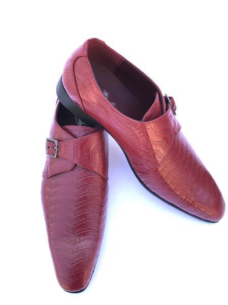 Men's Stylish Wave Designed Cap Toe Burgundy Strap Dress Shoes