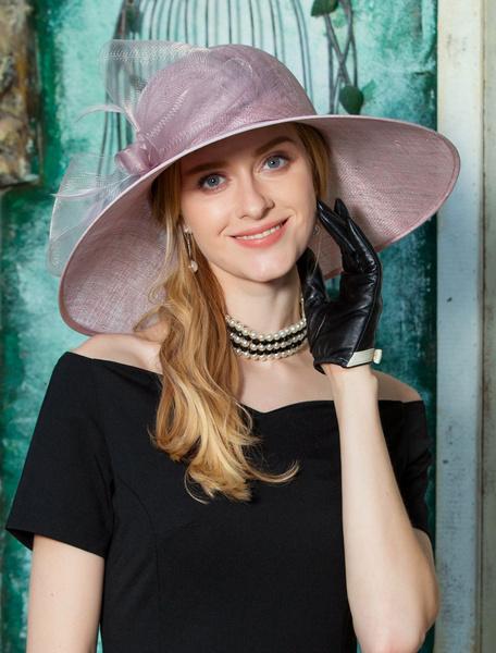 Milanoo Vintage Women Hat Fuchsia Pink Tulle Retro Sun Hat Wide Brim Costume Accessories