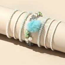 7 Stuecke Armband mit Pom Pom Dekor