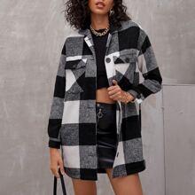 Mantel mit Taschen Klappe und Karo Muster