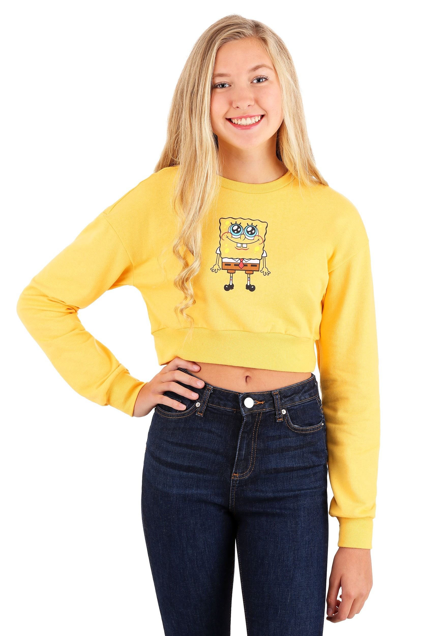 Cropped Womens Crewneck SpongeBob Sweatshirt