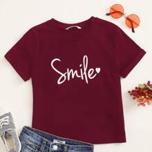 Camiseta de puño doblado con estampado de corazon y letra