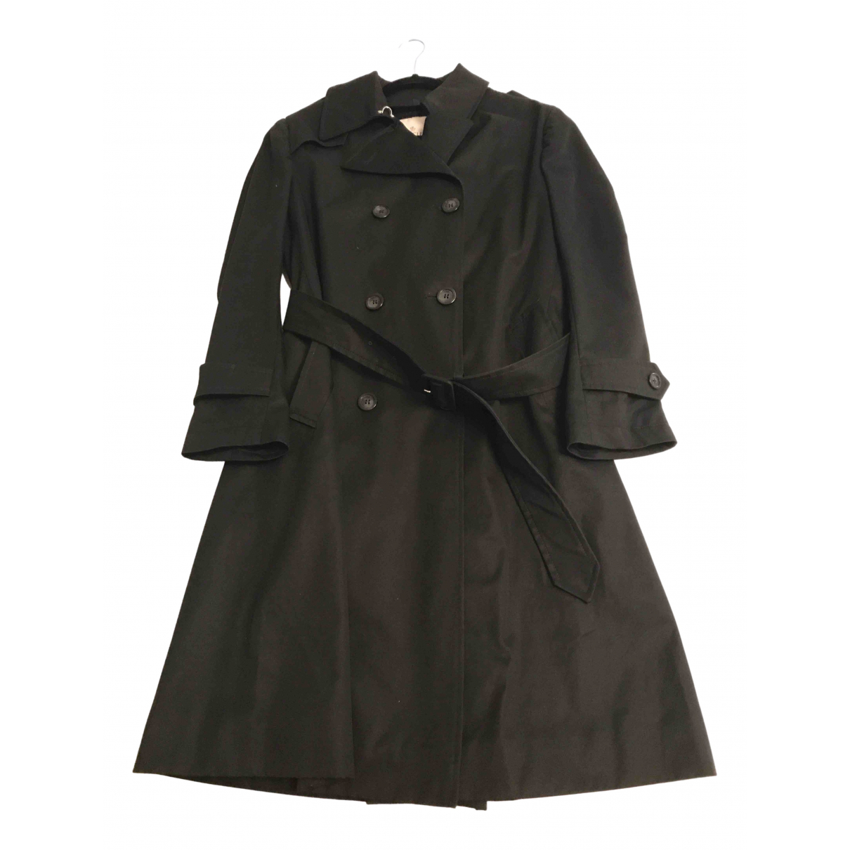 Moncler - Trench   pour femme en coton - noir