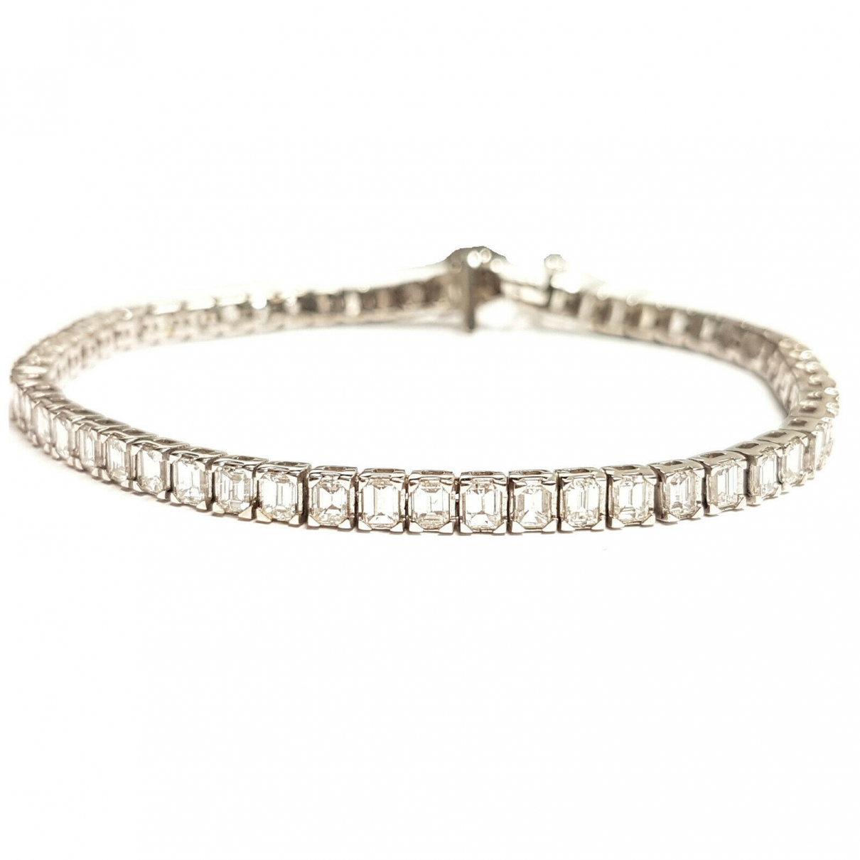 Non Signé / Unsigned Tennis Silver White gold bracelet for Women \N