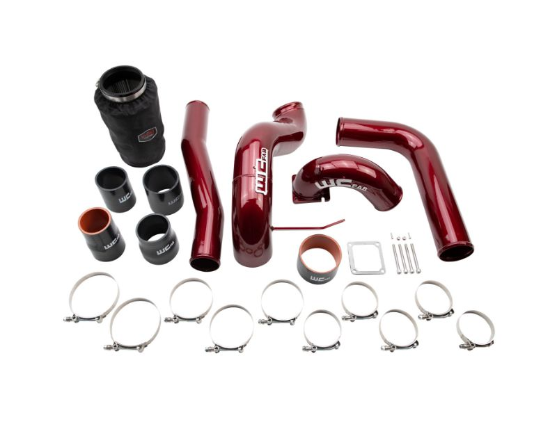 WCFab 2003-2007 5.9L Cummins High Flow Intake Bundle Kit Black Hammer Tone Single Stage Powder Coating