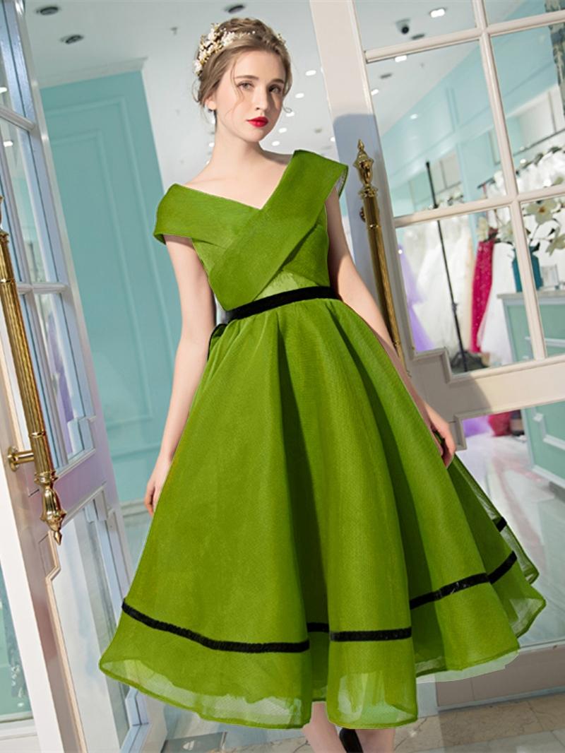 Ericdress A-Line Cap Sleeves Tea-length Evening Dress With Bowknot