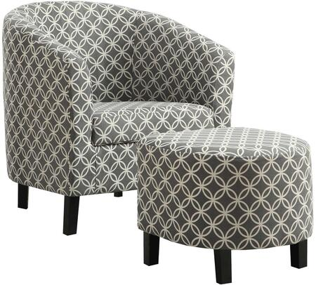 333613 Accent Chair and Ottoman Set with Sloped Arms  Solid Wood Construction  Foam Filled Cushion and Cotton Linen Fabric Upholstery in Gray