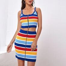 O-ring Zip Up Striped Knit Top & Skirt Set
