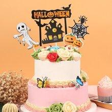 5 piezas decoracion de pastel con patron de Halloween