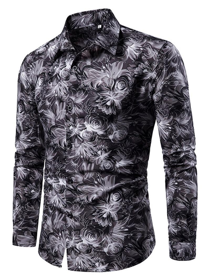 Ericdress Button Lapel Color Block Mens Slim Shirt
