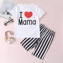 Girls Letter Graphic Tee With Striped Shorts