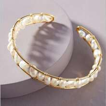 Faux Pearl Decor Hollow Bangle