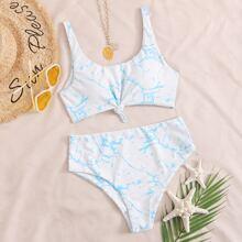 Bikini Badeanzug mit Marmor Muster und Knoten vorn