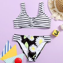 Girls Floral & Striped Ruched Bikini Swimsuit