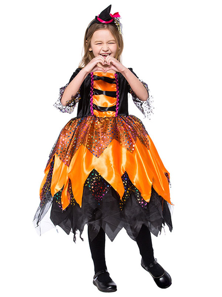 Milanoo Halloween Cosplay Costumes For Kids Orange Witch Kid's Headwear Dress For Child