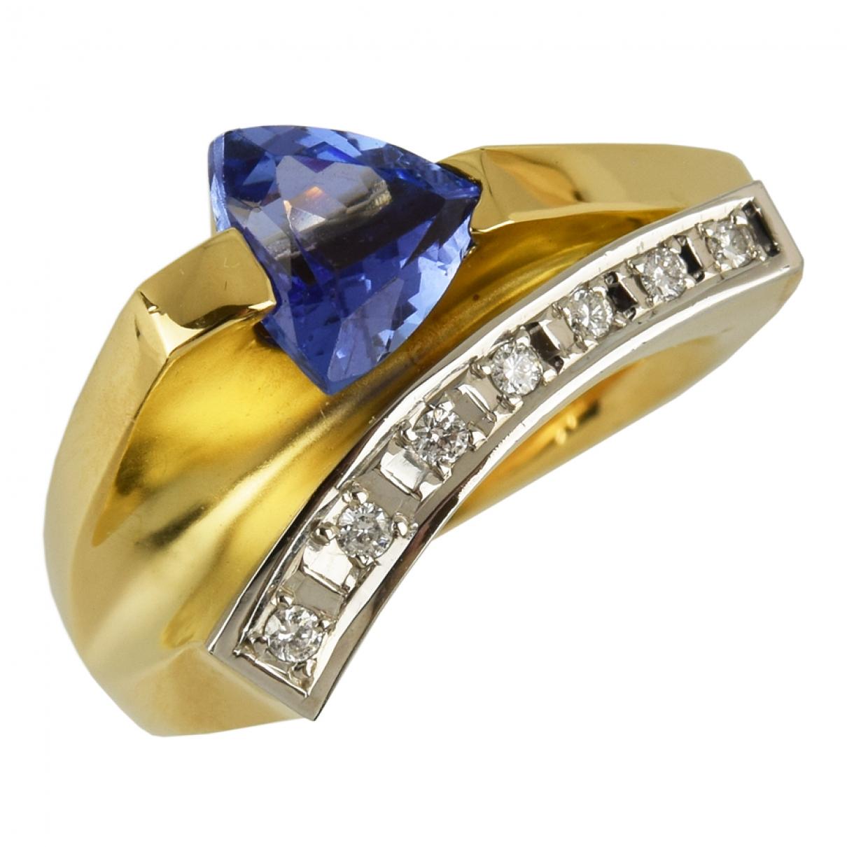 - Bague   pour femme en or jaune - bleu