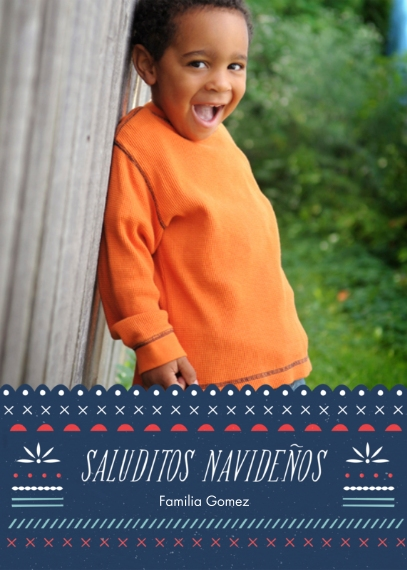 Holiday Photo Cards Mail-for-Me Premium 5x7 Folded Card , Card & Stationery -Saluditos Navidenos