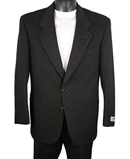 Men's 2 Button Notch Lapel Single Breasted Black Blazer