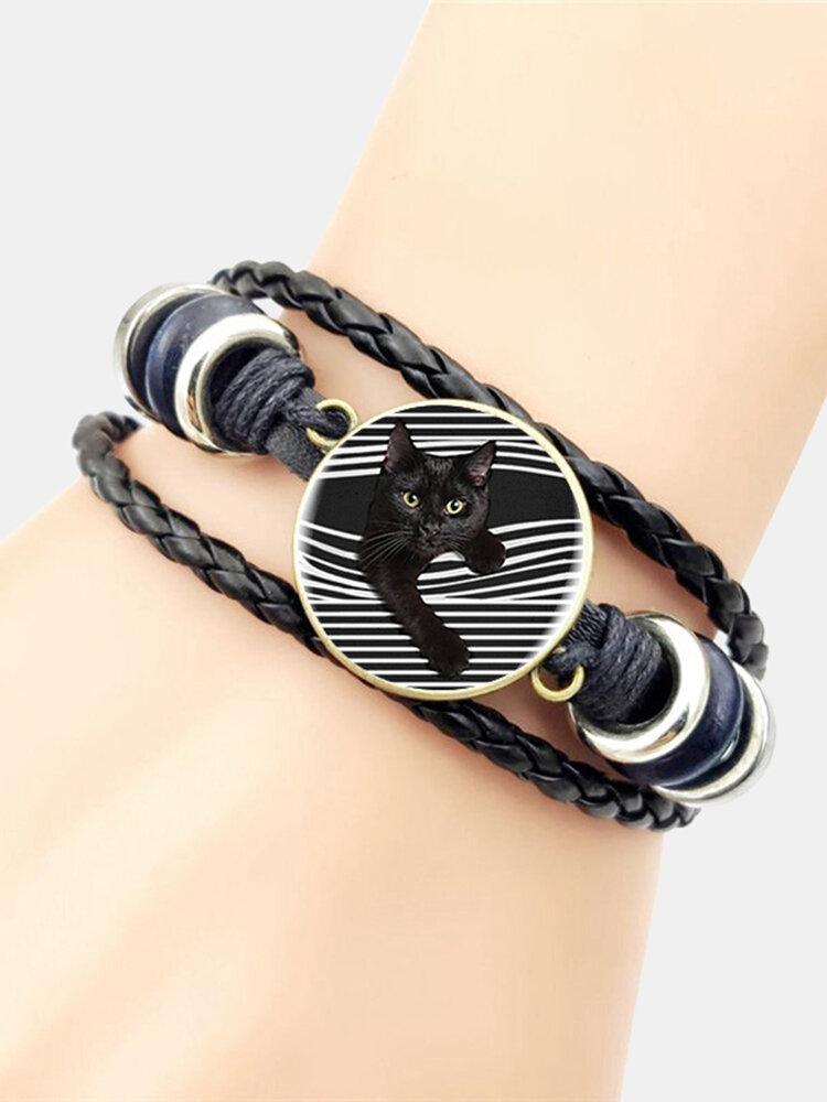 Hand-Woven Leather Bracelet Cat Stick Out Glass Print Head Multi-Layer Women Bracelet