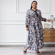 Vestidos Tallas Grandes Encaje en contraste Floral Bohemio