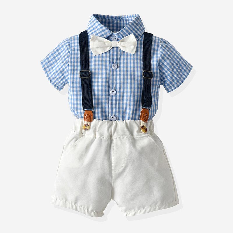 3Pcs Boy's Gentlemen Plaid Print Shirt +Suspender Shorts Birthday Formal Suit For 1-8Y