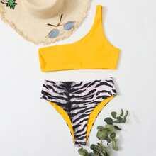 Bikini Badeanzug mit Zebra Streifen und einer Schulter