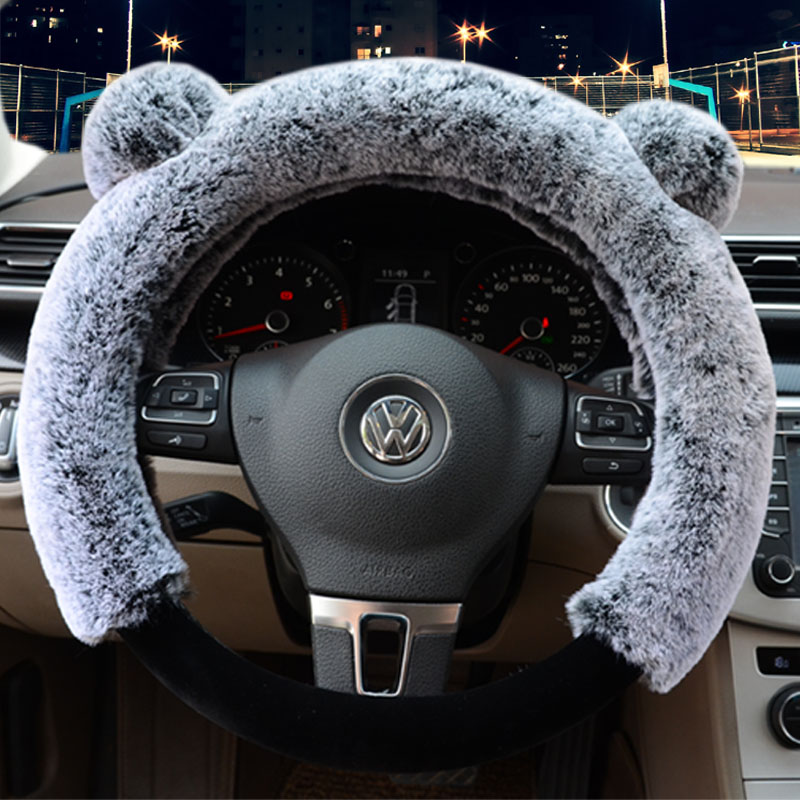 3D Panda Plain Plush 3-piece Non-slip Steering Wheel Cover