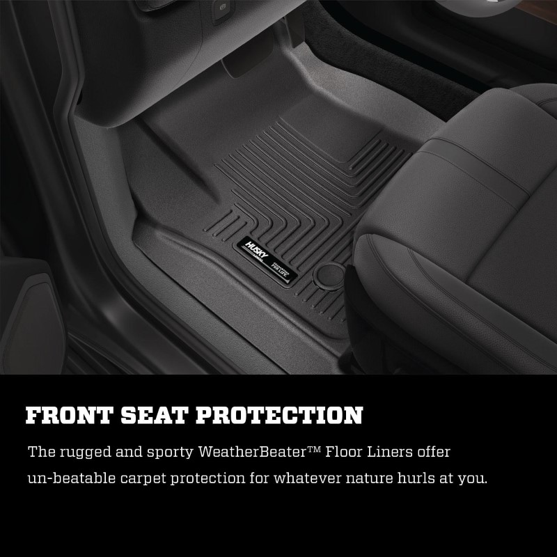 Husky Liners 94001 Weatherbeater Front And 2nd Seat Floor Liners 19-20 Ram 1500 Crew Cab Pickup Black
