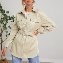 Snap Button Front Belted PU Coat