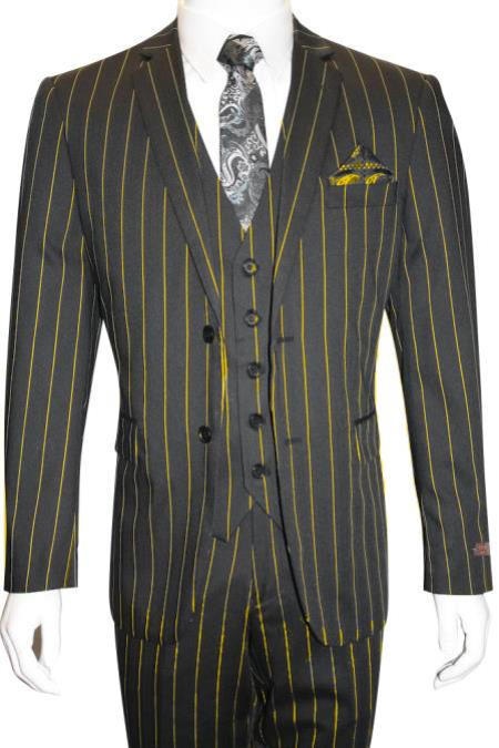 Black and Gold ~ Yellow Pimp Mobster 1930 Two buttons Vested 3 Pieces