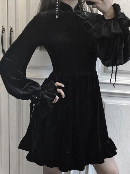 Milanoo Vestido gotico de Lolita negra Vestido de terciopelo de estilo chino Qipao